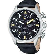 Pulsar Chronograph Men's Quartz Watch Sport Black Leather Strap PS6053X1