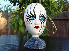 """Ceramic Self Standing Face Mask Glazed 6"""" Mexico Day of The Dead Art Spider Eyes"""