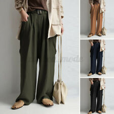 Women Casual Culottes Wide Legs Palazzo Pants Elastic Waist Basic Long Trousers