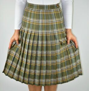 Vintage Equorian Khaki Green Check Pleated Skirt Scotland Winter Size 8 AC