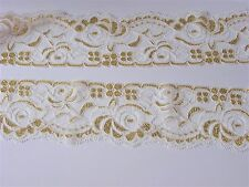 Mercerie Broderie★Dentelle extensible 55 mm-Or bl★Couture Scrapbooking Au metre