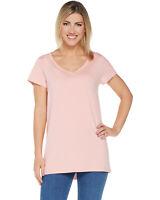 Isaac Mizrahi Live! Womens Essentials Pima Cotton V-Neck Tunic M Rose A289636