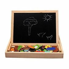 Multifunctional Drawing Writing Board Magnetic Puzzle Double Easel Wooden Toy