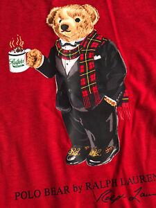 Polo Ralph Lauren Baby Boys Polo Bear Long Sleeve T Shirt Red Sz 4 /4T- NWT