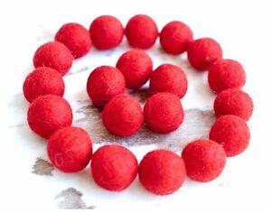 2cm RED Felt Balls x20.Wool.Party Decor.Pom poms.Felt Ball.Wholesale.