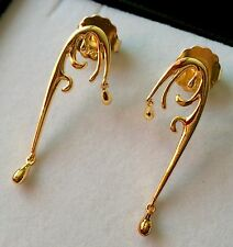 Designer LucyQ Double Drip Wave Dangle Earrings 14k Gold On Sliver