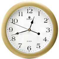 Round Wall Clock - PERFECT - Silent Sweep , Gold Case