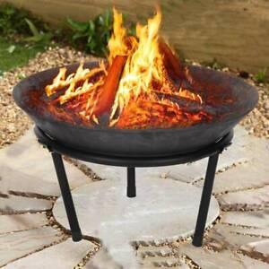 Cast Iron Fire Bowl Firepit Modern Stylish Fire Pit Garden Outdoor Steel Large