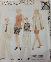 McCalls Sewing Pattern # 7550 Misses Jacket Skirt Top and Pants Sz 8, 10, 12