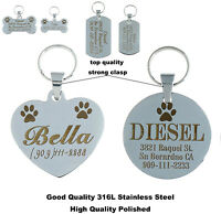 High Quality Free Custom Engraved Steel Dog Cat Tag Personalized Dog Pet Id Tags