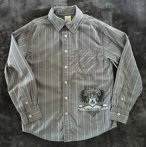 BOYS BUTTON-DOWN LONG SLEEVE DRESS SHIRT by FADED GLORY size LARGE 10-12 - GRAY