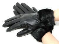 Women's elegant Winter Warm Genuine Leather Gloves w/ Fur Lined Fur Trim Cuff
