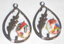 Vintage Leaf Findings, Connectors Silver Mosaic Art Nouveau Pear Drops NOS #435