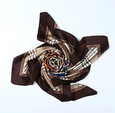 "Large Square Silk Scarf 36x36"" (90x90cm) Chocolate Theme Horse Print SZD053"