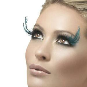 Black Eyelashes With Teal Feather Plumes Stylish Fancy Dress Party Large Ladies