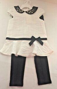 Camilla Girl's Black & White Cap Sleeve Dress w Black Leggings Size 4T NEW
