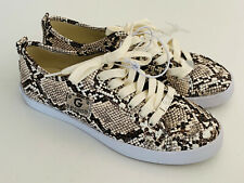 NEW! GUESS MALLORY WOMEN'S BROWN SNAKE PRINT LEATHER SNEAKERS SHOES 8 38 SALE