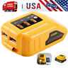 2 USB Phone Charger Adapter Li-ion Battery Power Slide 12V 20V for Dewalt DCB090