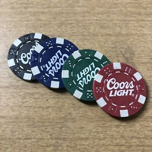 Set Of 4 COORS LIGHT Beer Poker Chips Dice Golf Ball/Drink Marker Card Guard