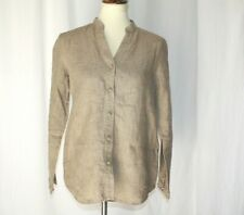 j.jill Womens sz XS Mandarin linen long sleeve knit knot buttons tunic blouse