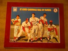 ST LOUIS CARDINALS HALL OF FAMERS SIGNED MATTED PRINT MUSIAL GIBSON +3 18 x 23