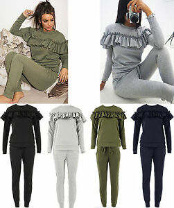 Womens Ladies Loungewear 2 Piece Set Ruffle Frill Detail Top Tracksuit Jogger