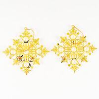 Set of 2 Vintage Metal Gold Tone Filigree Pearl Snowflake Christmas Ornaments