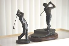 Vintage Pair Two Art  Golf Golfer Statues Figurines