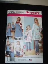 """Simplicity 1240 Pattern Aprons Misses Child 18"""" Doll Fits American Girl"""