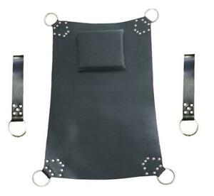 Genuine Black Leather Sling Heavy Duty Sex Swing with Stirrups Bondage Adult