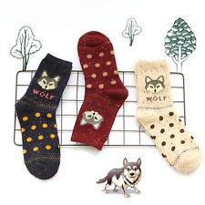 3 Pairs New Ladies Fashion Socks Cotton Cute Wolf Creative Ankle Socks