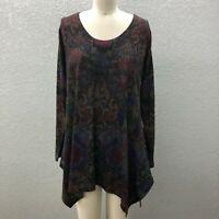 Soft Surroundings Light Knit Tunic Sweater Women's L/XL Floral Long Sleeve