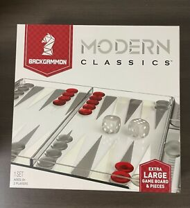 Modern Classics BackGammon Extra Large Pieces Red - Etched Glass Game Board NEW