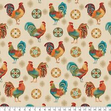 David Textiles Sewing Fabric Rooster Medallion 1 Yd X 44 Inches Cotton Linen Nip