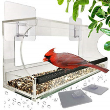 Foxup Window Bird Feeders with Sliding Feed Tray for Outside, Never Falling Off,
