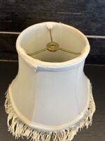 "Vtg Victorian Cream Lamp Shade Fringe Shabby Cottage 7 1/8"" tall"