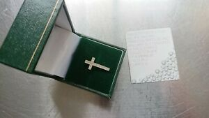 New STUNNING 9ct White Gold Hallmarked Real Diamonds Cross Pendant