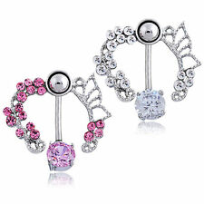 Graceful Pink Clear Butterfly Crystal Flower Belly Bar Ring Navel Barbell ❤Aus❤