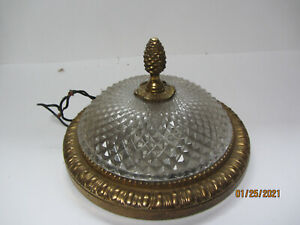 VINTAGE BRONZE OR BRASS SMALL DOME PINE CONE FINIAL DIAMOND DESIGN CEILING LIGHT