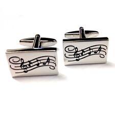 Silver Music Notes Cufflinks Rectangular Design Musical Shirt Cuff Links New