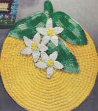 Vintage Crochet PATTERN Pot Holder Orange Blossom Flowe