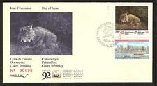 CANADA QUEBEC PROVINCE # QW5A WILDLIFE CONSERVATION 1992 FIRST DAY COVER
