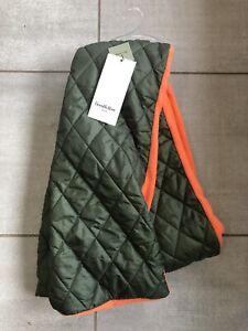 Unisex Goodfellow Quilted Fleece Reversible Scarf Hunter Orange Green NWT