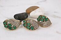 925 Sterling Silver Handmade Gemstone Turkish Emerald Ladies Set