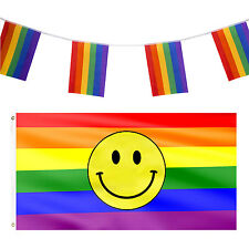 Gay Pride Supporter LGBT Rights Flags Smiley Emoji Rainbow Flag Cape Bunting Set