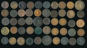 50 OLD CANADA LARGE CENTS & TOKENS (COLLECTIBLES) > SEE IMAGES > NO RESERVE