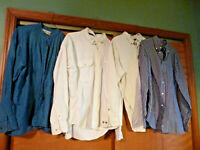 Lot of 4 Men's Long-Sleeved Shirts NATURAL ISSUE, DOCKERS, MOSSIMO, TRADER BAY L