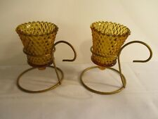 Vtg. ~ Pair Of 2 Home Interiors Amber Diamond Votive Cups Candle Holders Sconce