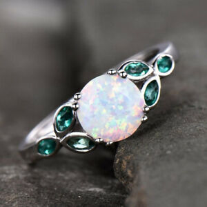 GTL Certified Round White Opal Gemstone Engagement 14 k White Gold Ring