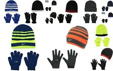 New Kids Boys Genuine Nike Stylish Snow Stripe Hat And Gloves Set  14  Colours